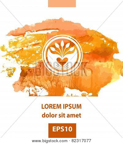 Vector logo on the theme of Plant. Seeds, planting seedlings, hand picking. Orange watercolor backgr