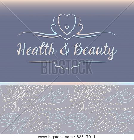 Vector logo depicting shells and pearls. Health and beauty. Background pattern with floral and marin