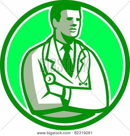 Doctor Stethoscope Standing Circle Retro