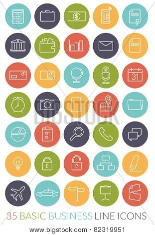Business Line Icon Vector Set. Collection of 35 basic business line icons in colored circles