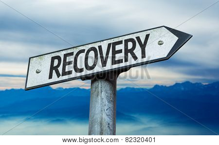 Recovery sign with sky background
