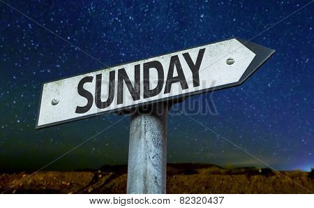 Sunday sign with a beautiful night background
