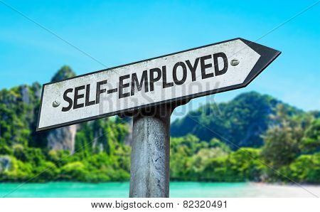 Self-Employed sign with a beach on background