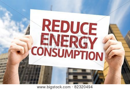 Reduce Energy Consumption card with a urban background