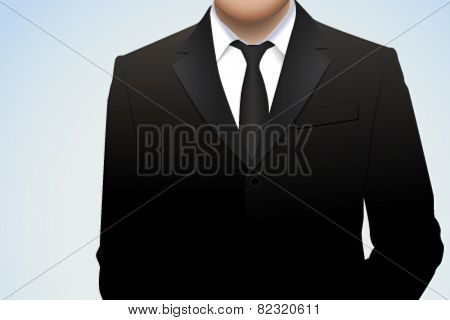 Vector illustration of man wearing suit and tie. Chest detail.
