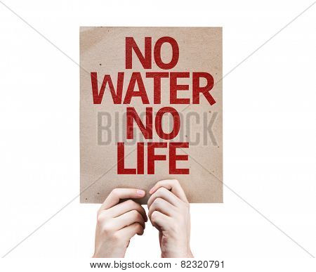 No Water No Life card isolated on white background