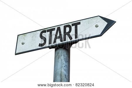 Start sign isolated on white background