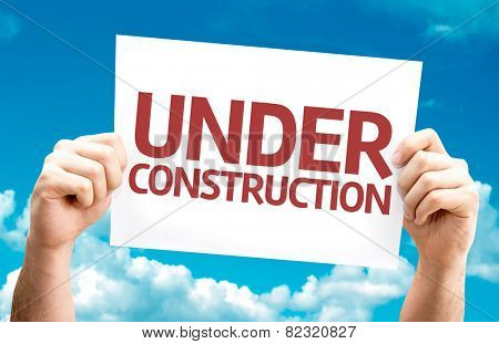 Under Construction card with sky background