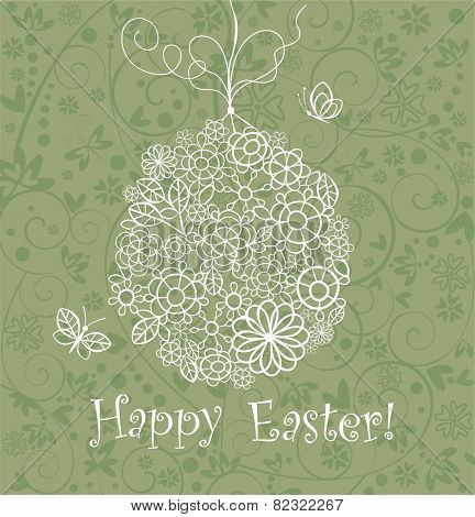 Beautiful easter card with lacy hanging egg