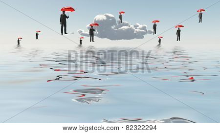 Floating Men with Umbrellas