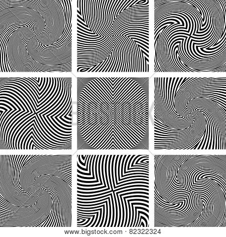 Rotation and twisting movement. Abstract textures set. Vector art.