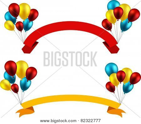 Celebration paper ribbon backgrounds with colorful balloons. Vector illustration.