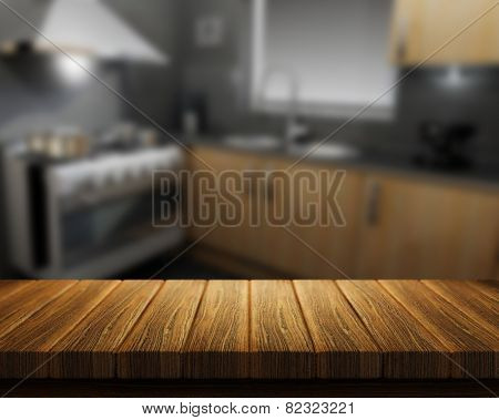 3D render of a wooden table with a kitchen in the background