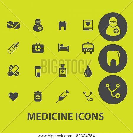 medicine, health, doctor, hospital icons, signs, illustrations on background set, vector