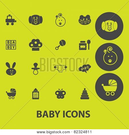 baby, children, kids, toys icons, signs, illustrations on background set, vector
