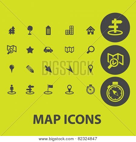 map, navigation, route icons, signs, illustrations on background set, vector