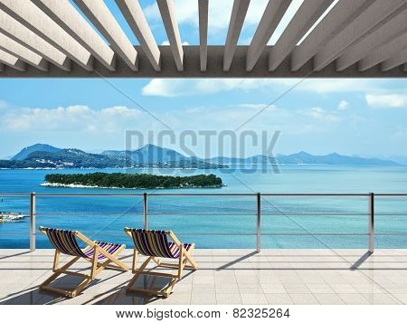 Large terrace with loungers and beautiful sea views
