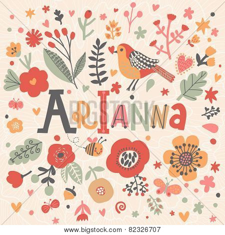 Bright card with beautiful name Emma in poppy flowers, bees and butterflies. Awesome female name design in bright colors. Tremendous vector background for fabulous designs