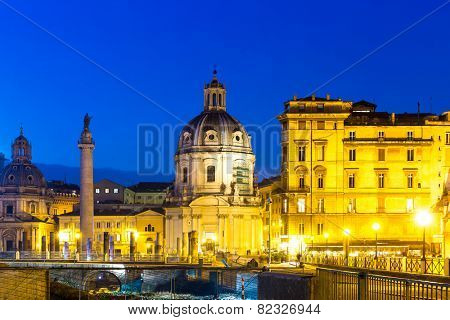 Forum of Trajan during the blue hour with Trajan's column and Santa Maria di Loreto, Rome, Italy
