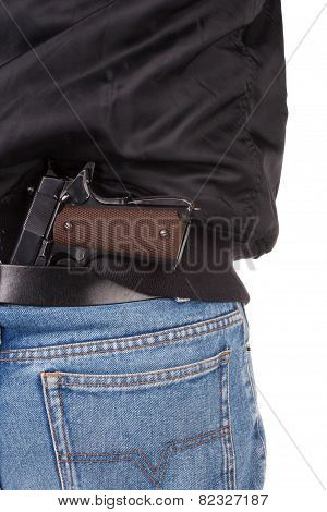 Back View Of Robber With Handgun