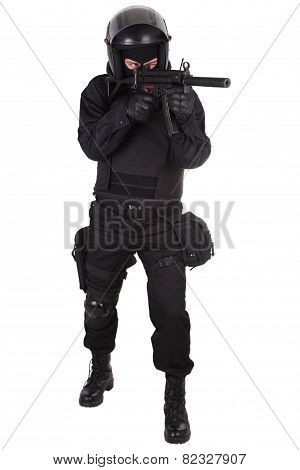 Anti-terrorist Policeman In Black Uniform