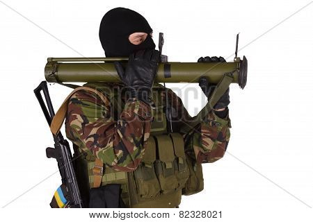 Ukrainian Volunteer With Rpg Grenade Launcher