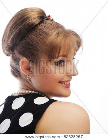 Pinup woman, style retro haircut, studio shot
