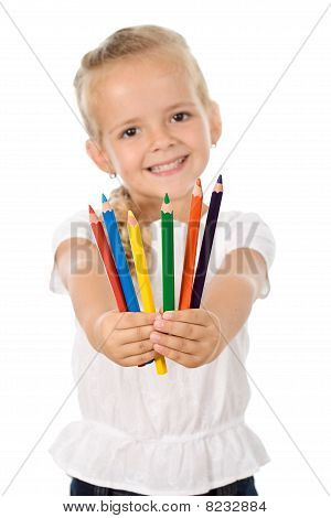 Little Girl With Lots Of Pencils - Smiling