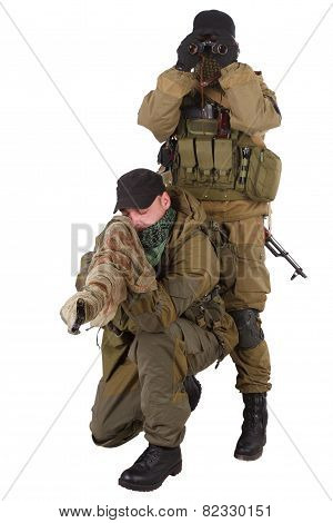 mercenaries sniper pair with sniper rifle isolated on white background