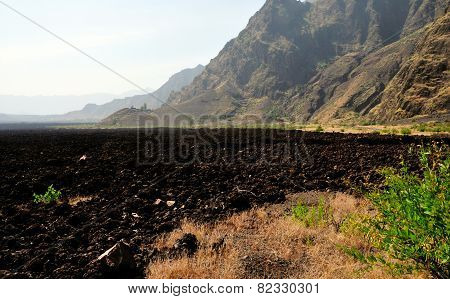 Lava Field Leading To Cliff