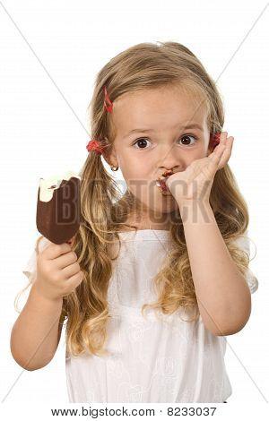 Little Girl Eating Icecream Licking Fingers