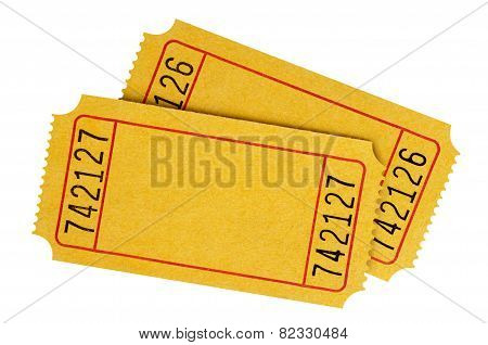 Pair Of Blank Yellow Tickets
