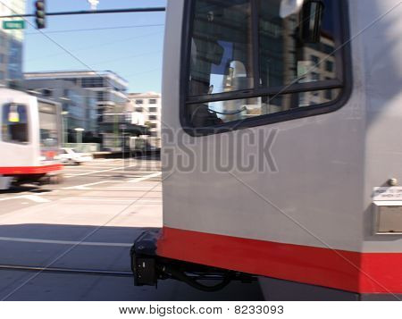 Light Rail Trains Racing In Both Directions