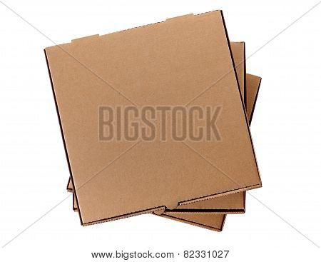 Stack Of Three Brown Pizza Boxes