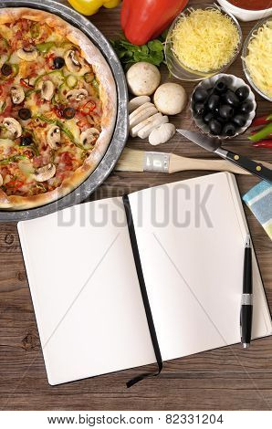 Freshly Baked Pizza With Cookbook