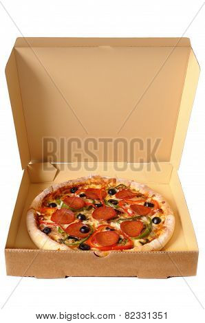 Freshly Baked Pepperoni Pizza In A Delivery Box.