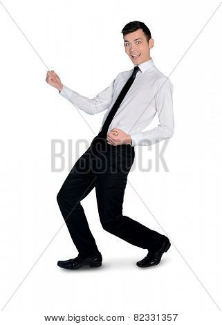 Isolated business man dance happy