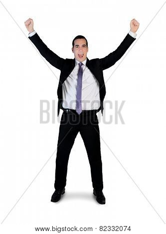 Isolated business man winner hands up