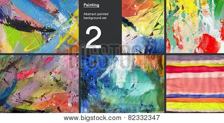 Set of abstract painted acrylic canvas backgrounds