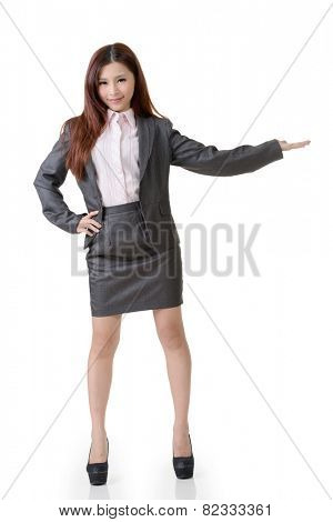 Asian business woman introduced on white background.