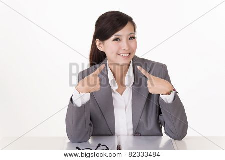 Happy smiling business woman, closeup portrait on white background.