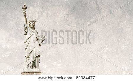 Front view of the Statue of Liberty in New York City