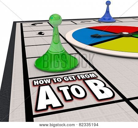 How to Get from A to B with pieces moving forward on a board game to illustrate progress and movement toward a goal, mission or objective