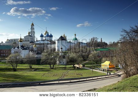 SERGIYEV POSAD, RUSSIA - APRIL 29, 2011: View to Trinity Lavra of St. Sergius in a springtime day. Since 1993, the Lavra is listed as UNESCO World Heritage site