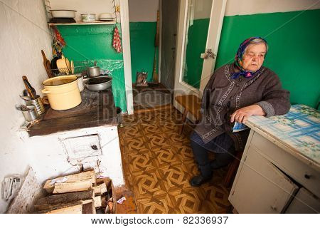 VINNITSY, RUSSIA - CIRCA MAY, 2012: Unidentified old woman Veps - small Finno-Ugric people living on territory of Leningrad region in Russia. Total number in Leningrad reg.- 1380 people (to 2010 year)