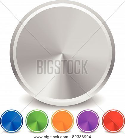 Blank Colorful Metallic Circle Set. Circle Icons, Blank Backgrounds. Conical Gradient Fill.