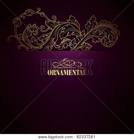 Beautiful elegant background with lace floral ornament and place for text. Design elements, ornate background