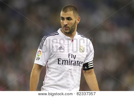 BARCELONA - OCT, 29: Karim Benzema of Real Madrid before the Spanish Kings Cup match against UE Cornella at the Estadi Cornella on October 29, 2014 in Barcelona, Spain