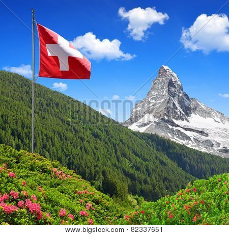 Views of the Matterhorn with Swiss flag - Swiss Alps