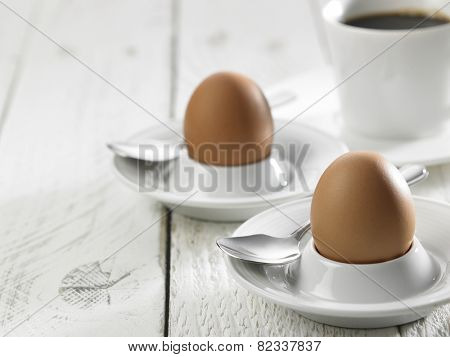 hard boil egg and coffee for breakfast